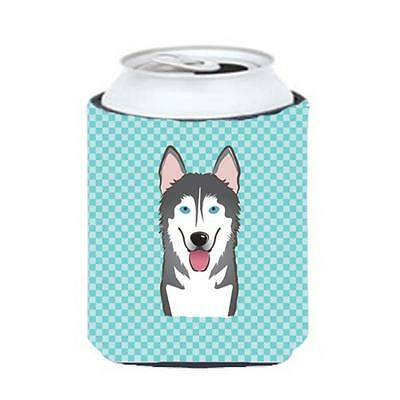 Checkerboard Blue Alaskan Malamute Can Or Bottle Hugger, 12 Oz.