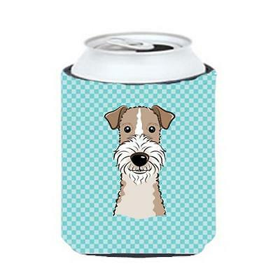 Checkerboard Blue Wire Haired Fox Terrier Can Or Bottle Hugger, 12 Oz.