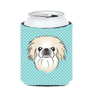 Carolines Treasures Checkerboard Blue Pekingese Can Or Bottle Hugger, 12 Oz.
