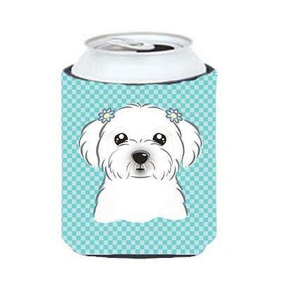Carolines Treasures Checkerboard Blue Maltese Can Or Bottle Hugger, 12 Oz.