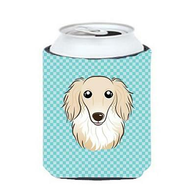Checkerboard Blue Longhair Creme Dachshund Can Or Bottle Hugger, 12 Oz.