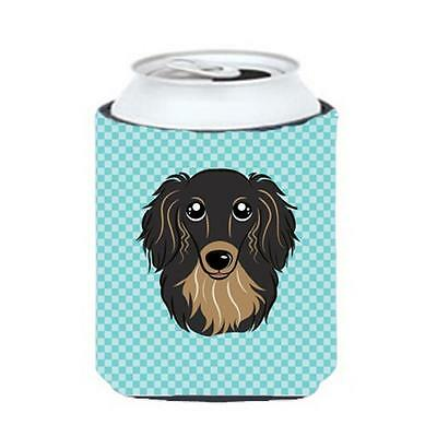 Checkerboard Blue Longhair Black And Tan Dachshund Can Or Bottle Hugger, 12 Oz.