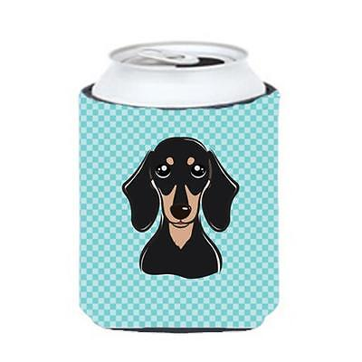 Checkerboard Blue Smooth Black And Tan Dachshund Can Or Bottle Hugger, 12 Oz.