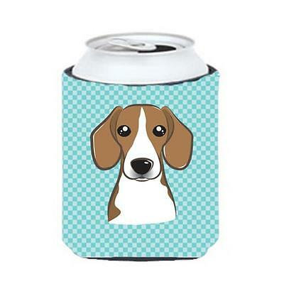 Carolines Treasures Checkerboard Blue Beagle Can Or Bottle Hugger, 12 Oz.