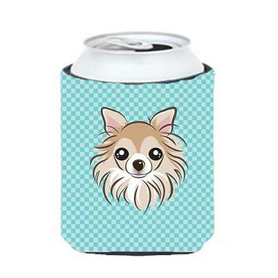 Carolines Treasures Checkerboard Blue Chihuahua Can Or Bottle Hugger, 12 Oz.