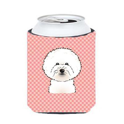 Carolines Treasures Checkerboard Pink Bichon Frise Can Or Bottle Hugger, 12 Oz.