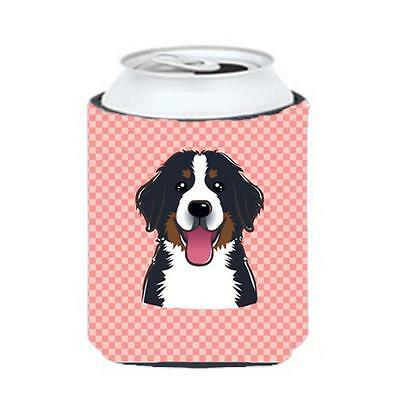 Checkerboard Pink Bernese Mountain Dog Can Or Bottle Hugger, 12 Oz.