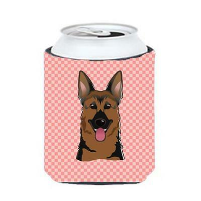Checkerboard Pink German Shepherd Can Or Bottle Hugger, 12 Oz.