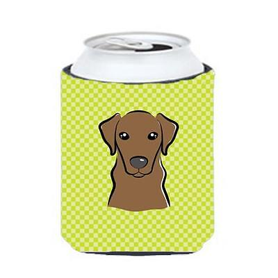 Checkerboard Lime Green Chocolate Labrador Can Or Bottle Hugger, 12 Oz.