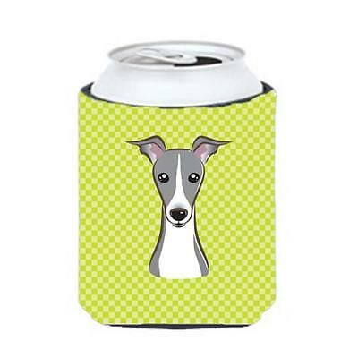 Checkerboard Lime Green Italian Greyhound Can Or Bottle Hugger, 12 Oz.