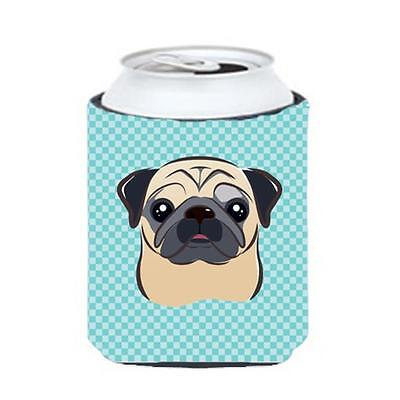 Carolines Treasures Checkerboard Blue Fawn Pug Can Or Bottle Hugger, 12 Oz.