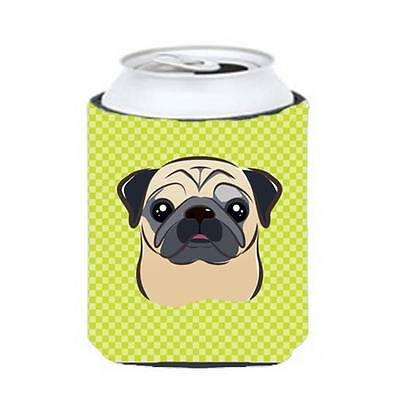 Checkerboard Lime Green Fawn Pug Can Or Bottle Hugger, 12 Oz.