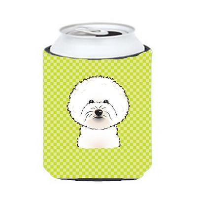 Checkerboard Lime Green Bichon Frise Can Or Bottle Hugger, 12 Oz.