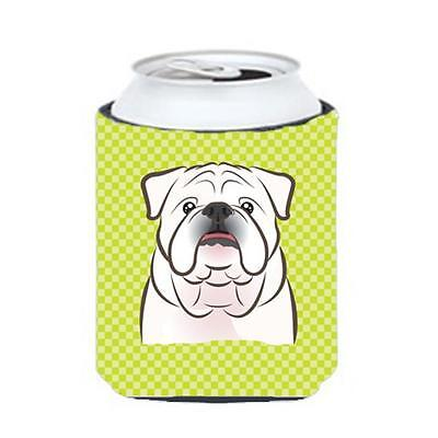 Checkerboard Lime Green White English Bulldog Can Or Bottle Hugger, 12 Oz.