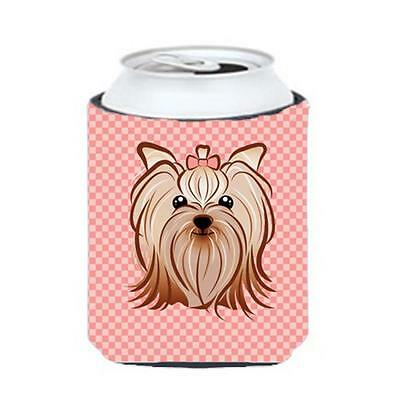 Checkerboard Pink Yorkie Yorkishire Terrier Can Or Bottle Hugger, 12 Oz.