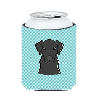 Checkerboard Blue Black Labrador Can Or Bottle Hugger, 12 Oz.