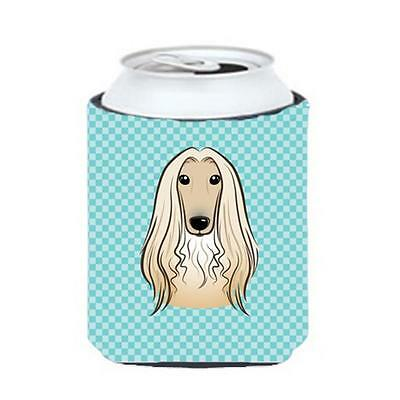 Carolines Treasures Checkerboard Blue Afghan Hound Can Or Bottle Hugger, 12 Oz.