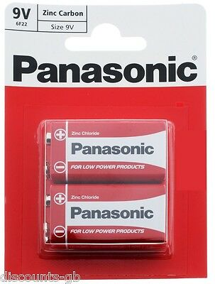 x2 Panasonic 9V Zinc Carbon Batteries - PP3 (MN1604 / 6F22 / 6LR61) - Pack of 2