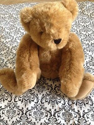 """Vermont Teddy Bear 16"""" Fully Jointed Excellent Condition Brown"""