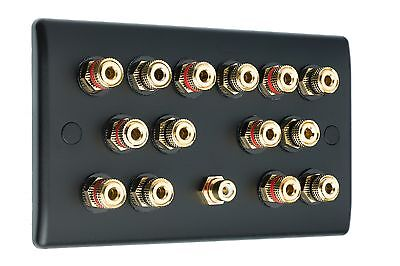 7.1 Matt Black Speaker Wall Face Plate 14 Gold Binding Posts - NON SOLDER