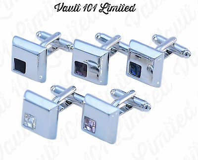 Mens Stainless Steel Business Wedding Silver Square CZ CRYSTAL GEM CUFFLINKS