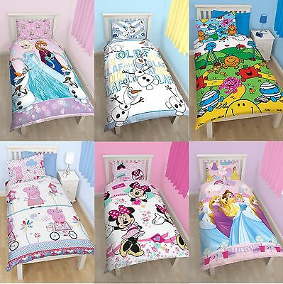 Girls Character Single Quilt Duvet Cover & Pillowcase Bedding Sets Disney Kids