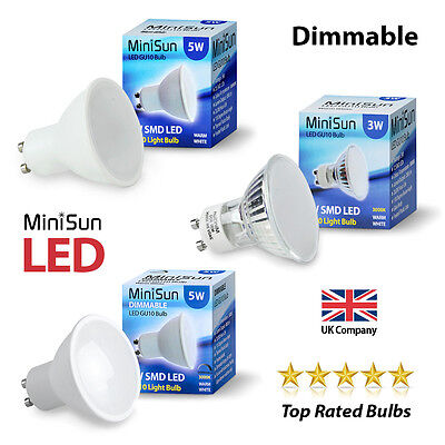 4 / 10 x MiniSun Dimmable SMD LED 5W GU10 Lamps Spot Light Day Warm White Bulbs