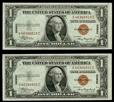 Pair Consecutive 1935 A Silver Certificate Hawaii Emergency Issues Cu Fr# 2300