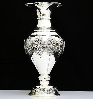 Magnificent 925 Sterling Silver Intricate Repousse Floral Motif Flower Vase ~New