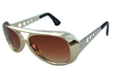 80's Gold Rocker Elvis Sunglasses Rock N Roll The King Glasses Costume Accessory
