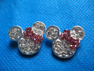 5 Sparkling ClearRhinestone Mouse Head/Bow Buttons-Hot Pink A102