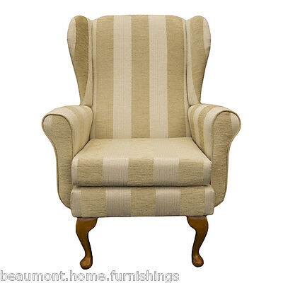 Wing Back Fireside Armchair Balmoral Chair in Woburn Gold Stripe Fabric