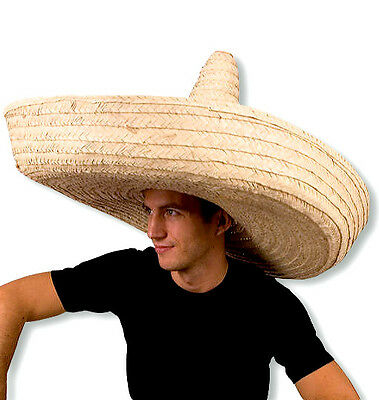 Giant Zapata Straw Spanish Mexican Fiesta Sombrero Hat Adult Costume Accessory