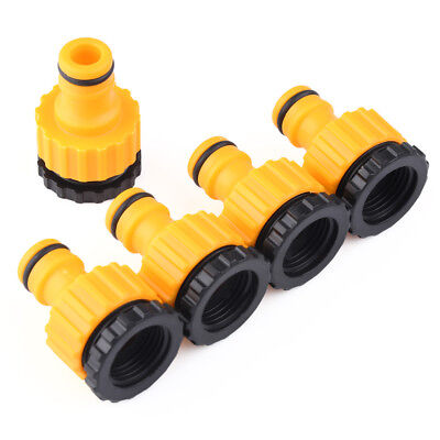 """5X 1/2"""" & 3/4"""" Plastic Garden Hose Water Pipe Connector Tube Fitting Tap Adapter"""