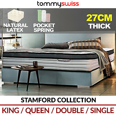 TOMMY SWISS: PREMIUM King, Queen & Double Pocket Spring Luxury Mattress LATEX
