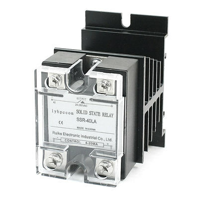 SSR-40LA 4-20mA to AC28-280V 40A 1 Phase Clear Cover Heatsink Solid State Relay
