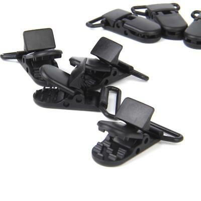 """10pc Suspender Paci Soother Pacifier Holder Dummy Clips KAM Plastic Black 1"""""""