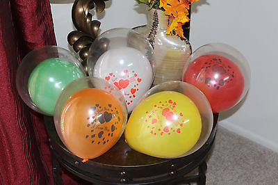 """12 Printed I Love You With Heart Balloon Inside a Balloon 11"""" Assorted Colors"""
