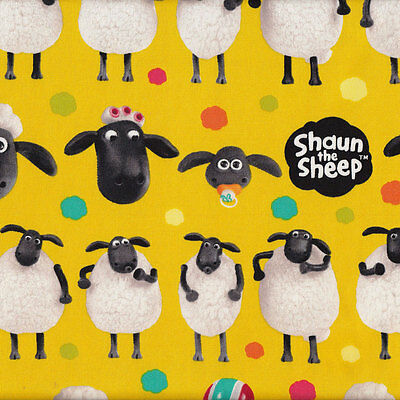 Shaun The Sheep on Yellow Girls Boys Kids Licensed Fabric FQ or Metre *New*
