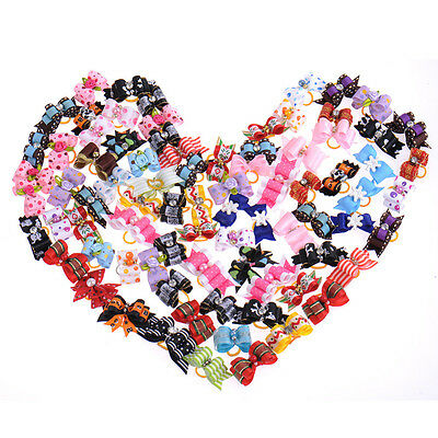 Multi-Colors Rhinestone Ribbon Pet Hair Bows W/Rubber Bands Dog Hair Accessories
