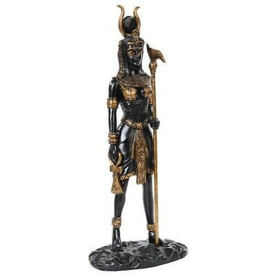 Ancient Egyptian Goddess Hathor Fantasy Figurine Decor Black and Gold Collection