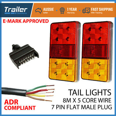 Trailer Wire Kit Pair Of Led Trailer Lights, 1 Xplug, 8Mx 5 Core Wire Waterproof
