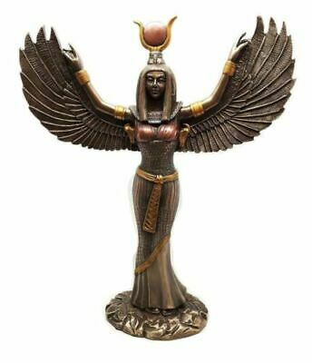 Ancient Egyptian Goddess Isis Open Wings Fantasy Figurine Bronze Finish Statue