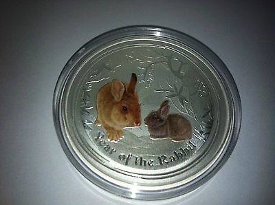 2011 $1 Year Of The Rabbit 1Oz Coloured Silver Coin
