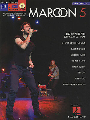 Maroon 5 Pro Vocal Sheet Music Book/CD Volume 28