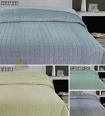 Quilted Velvet Double Bedspread Throw Throwover Bedding 4 Colours Modern New