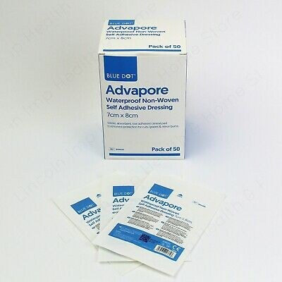 Waterproof Flexible Adhesive Wound Dressing Big Plaster 7 x 8cm. Advapore. Qty 5
