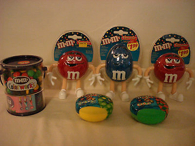M&m's Candy Containers Color Works Bucket Minis Checkers Tic Tac Toe Characters