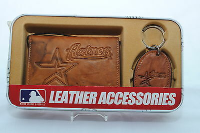 Houston Astros Brown Leather Tri-fold Wallet & Keyring Gift Set