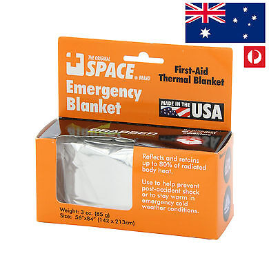 Emergency Blanket (Silver) USA Made Camping First Aid Body Thermal Hiking Cover
